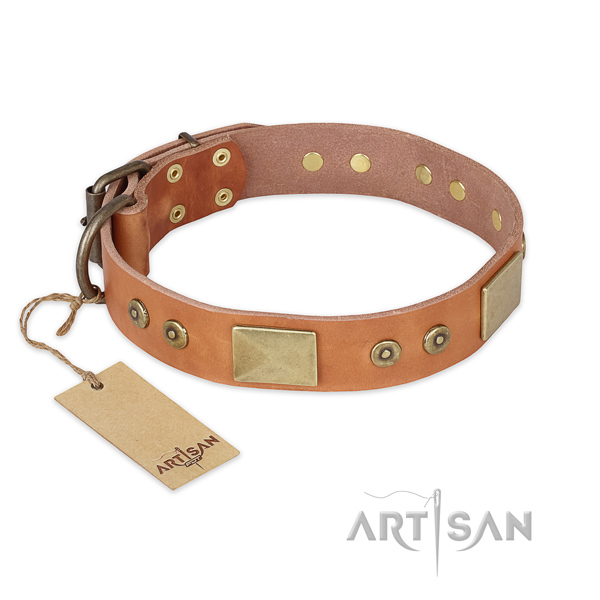 Awesome design studs on full grain leather dog collar