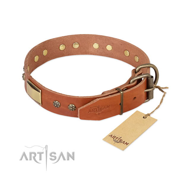 Daily use natural genuine leather collar with decorations for your dog