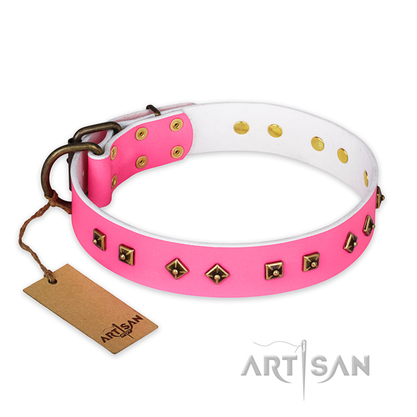 Exquisite design studs on full grain genuine leather dog collar