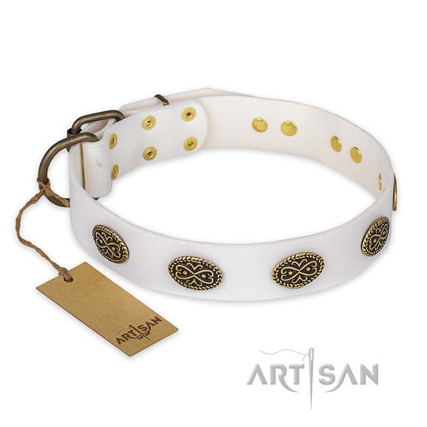 Stunning design adornments on genuine leather dog collar