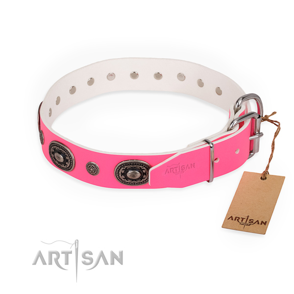 Extraordinary design adornments on natural genuine leather dog collar