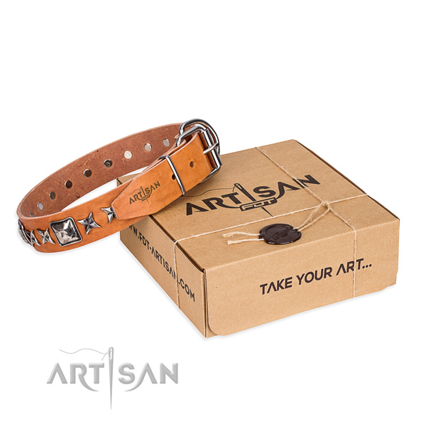 Impressive full grain genuine leather dog collar for daily use