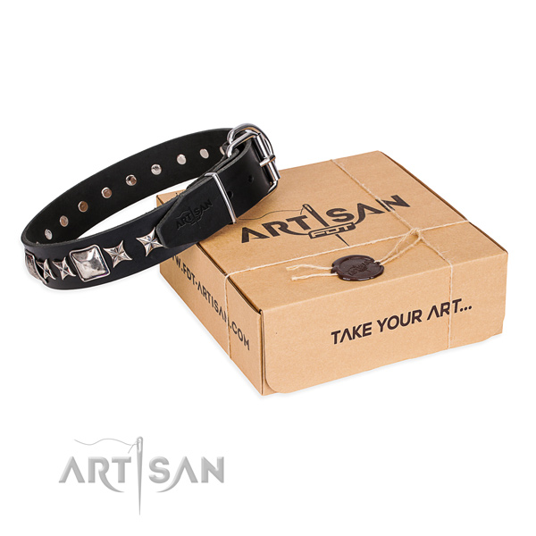 Finest quality genuine leather dog collar for walking