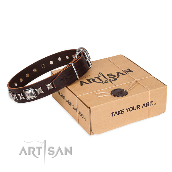 Awesome natural genuine leather dog collar for walking in style