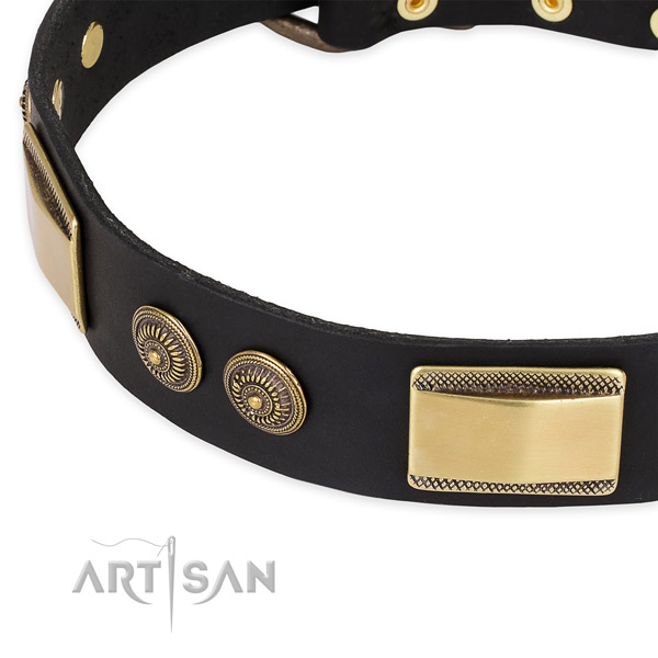 Stylish walking natural genuine leather collar with durable buckle and D-ring