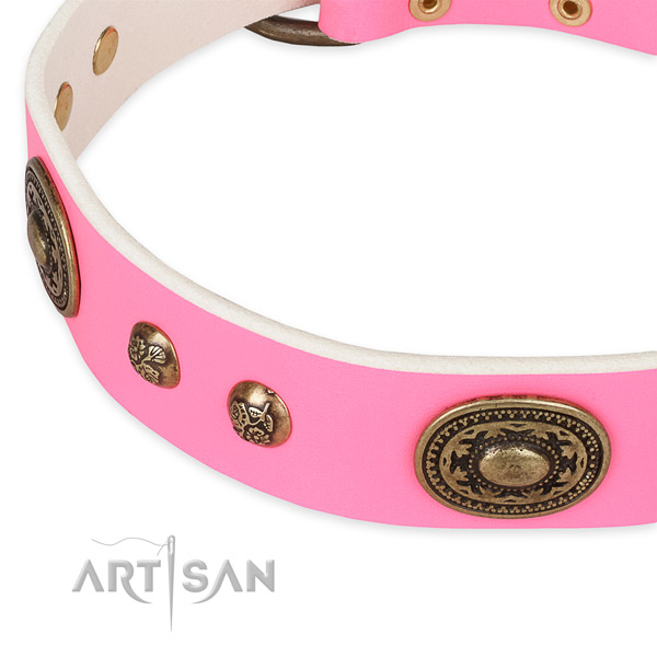 Daily walking genuine leather collar with corrosion proof buckle and D-ring