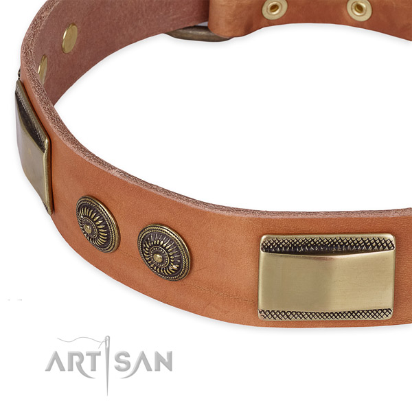 Daily use natural genuine leather collar with durable  buckle and D-ring