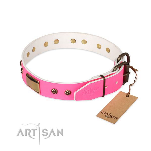 Walking natural genuine leather collar with embellishments for your doggie