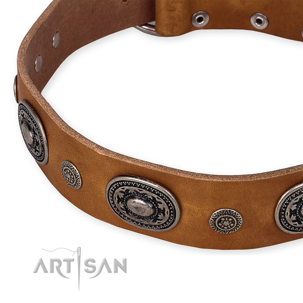 Snugly fitted leather dog collar with extra strong durable buckle and D-ring