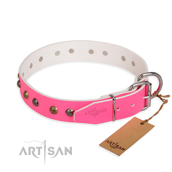 Fashionable design decorations on full grain natural leather dog collar