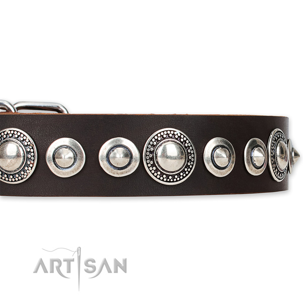 Adjustable leather dog collar with resistant rust-proof buckle and D-ring