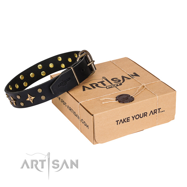 Designer natural genuine leather dog collar for daily use