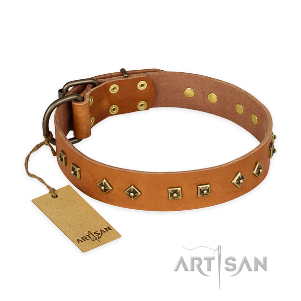 Stunning design decorations on genuine leather dog collar