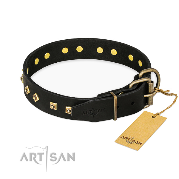 Handy use leather collar with adornments for your canine