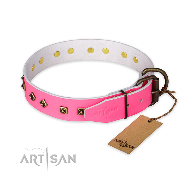 Daily walking natural genuine leather collar with decorations for your canine