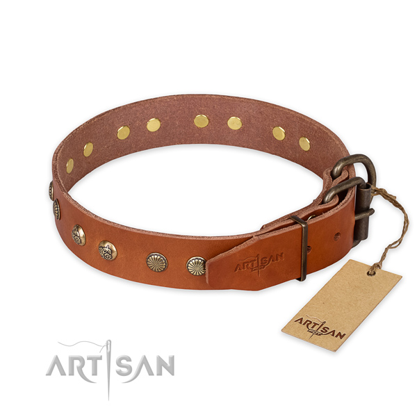 Handy use genuine leather collar with adornments for your four-legged friend