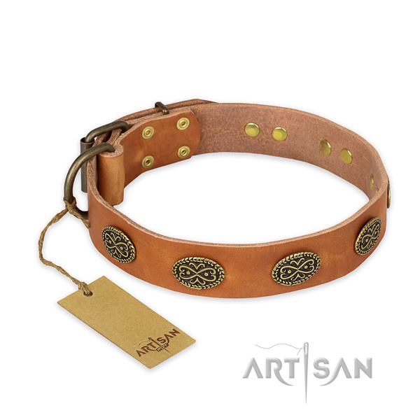 Impressive design decorations on genuine leather dog collar