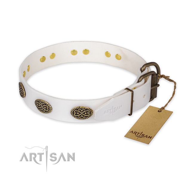 Everyday walking full grain natural leather collar with decorations for your pet