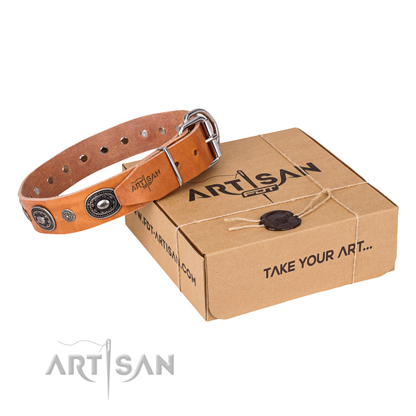 High quality natural genuine leather dog collar for everyday walking
