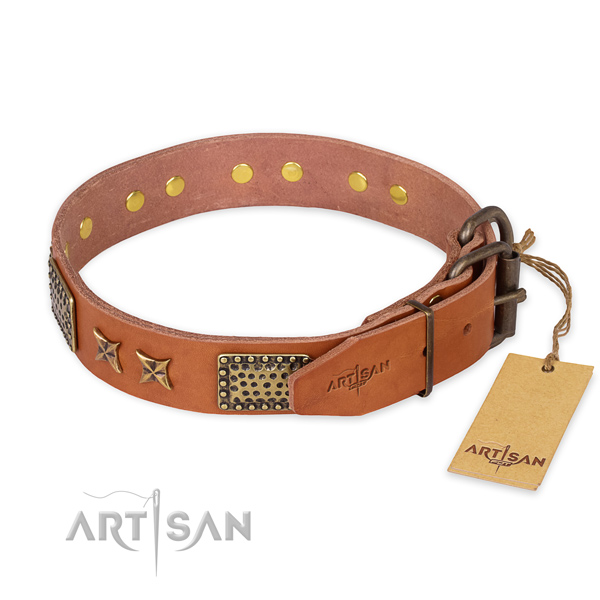 Daily use natural genuine leather collar with decorations for your canine