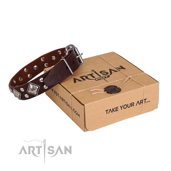 Perfect fit natural genuine leather dog collar for everyday walking