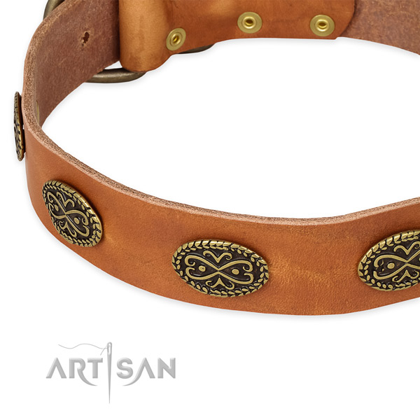 Handy use natural genuine leather collar with rust resistant buckle and D-ring