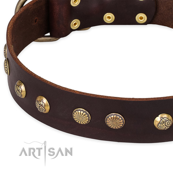 Adjustable leather dog collar with extra strong rust-proof set of hardware