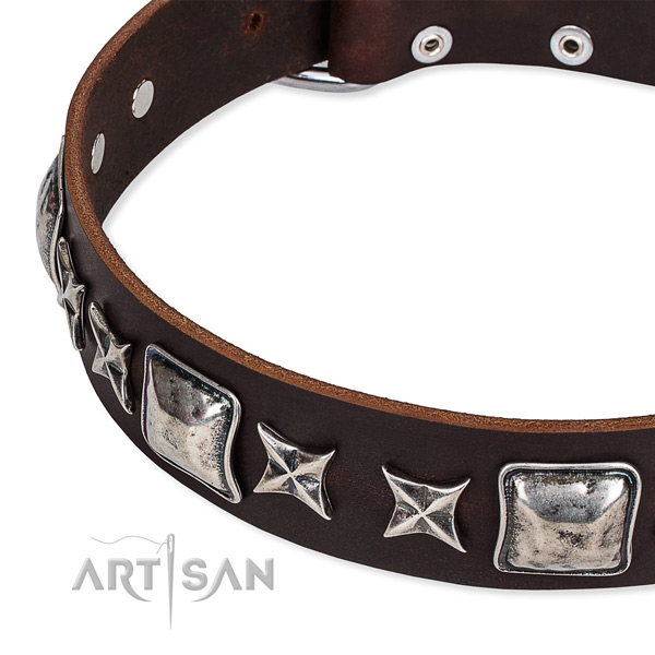 Easy to adjust leather dog collar with extra sturdy rust-proof buckle and D-ring