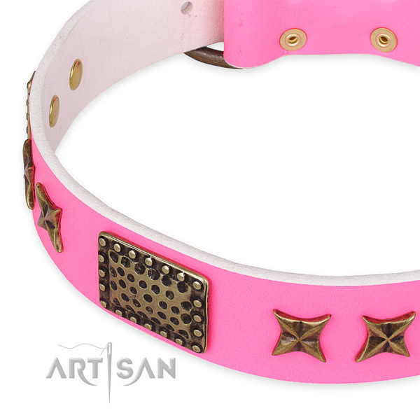 Adjustable leather dog collar with resistant non-rusting set of hardware
