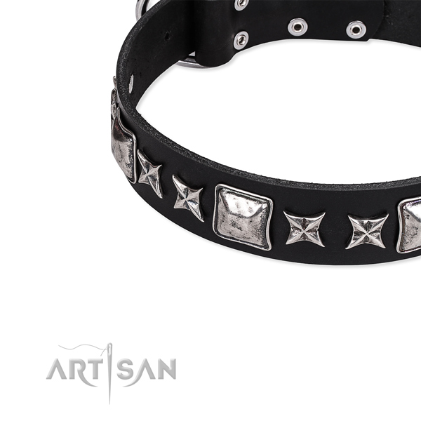 Adjustable leather dog collar with extra strong durable buckle