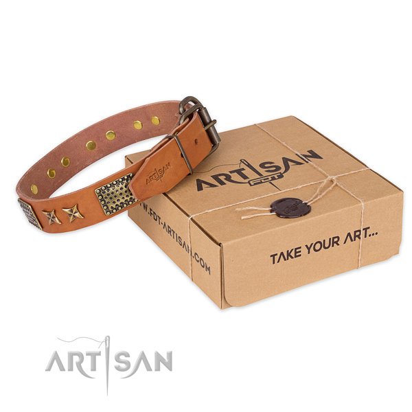Stylish design full grain genuine leather dog collar for stylish walks