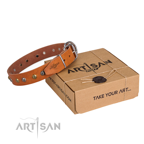 High quality natural genuine leather dog collar for daily use