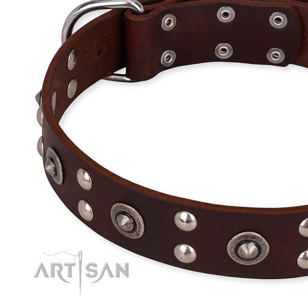 Easy to adjust leather dog collar with resistant non-rusting buckle and D-ring