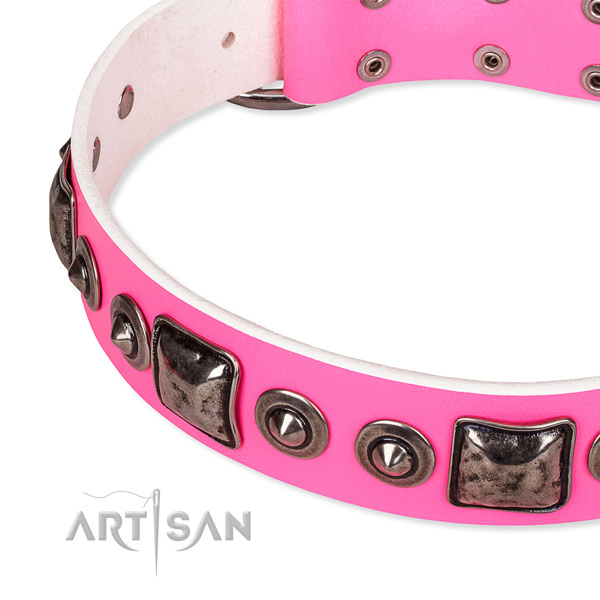 Easy to put on/off leather dog collar with extra sturdy rust-proof set of hardware