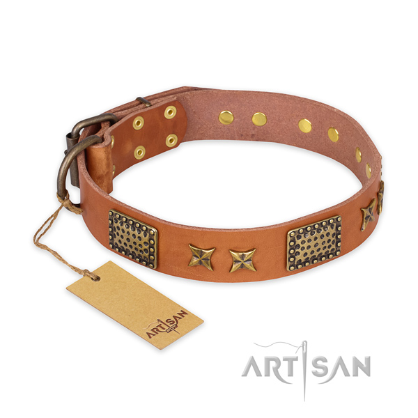 Remarkable design decorations on natural genuine leather dog collar