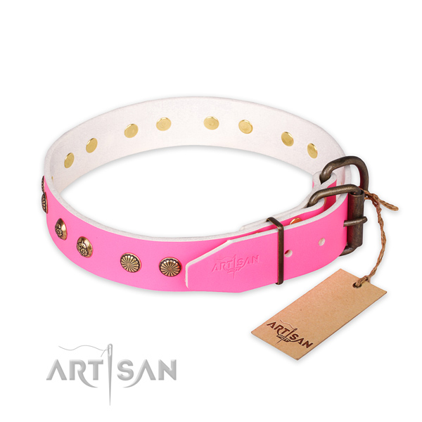 Exceptional design embellishments on full grain natural leather dog collar
