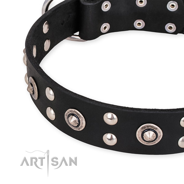 Easy to put on/off leather dog collar with extra strong durable hardware