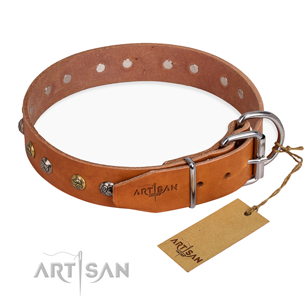 Amazing design studs on natural genuine leather dog collar