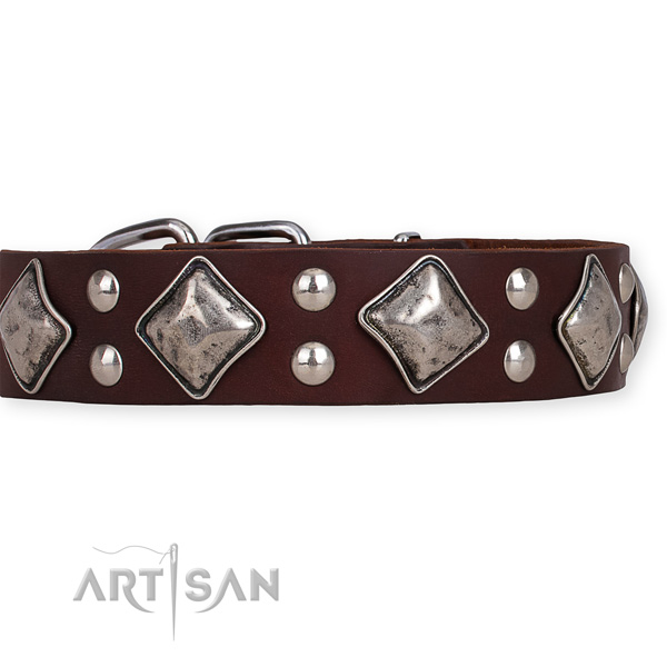 Easy to use leather dog collar with extra strong non-rusting hardware