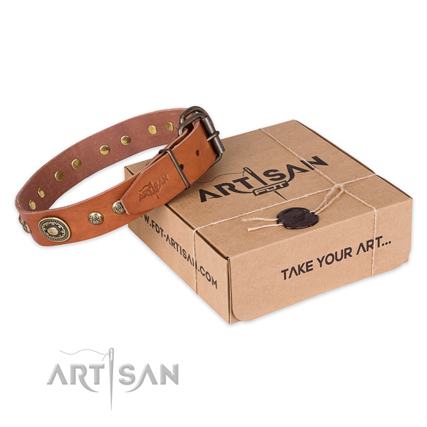 Fine quality genuine leather dog collar for stylish walking