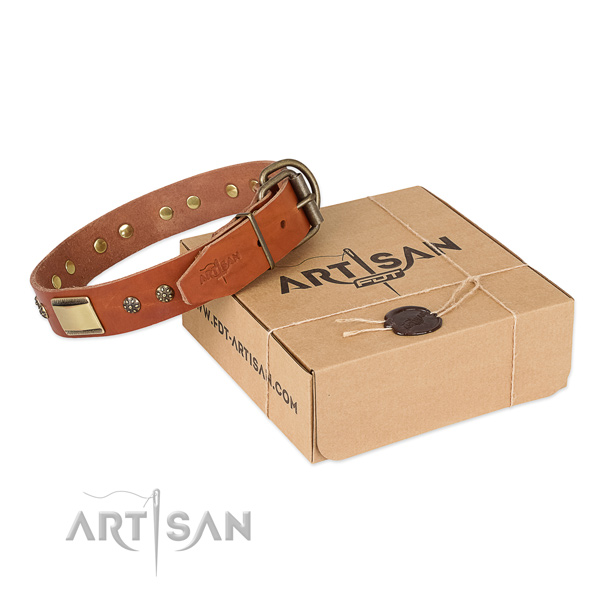 High quality natural genuine leather dog collar for everyday use