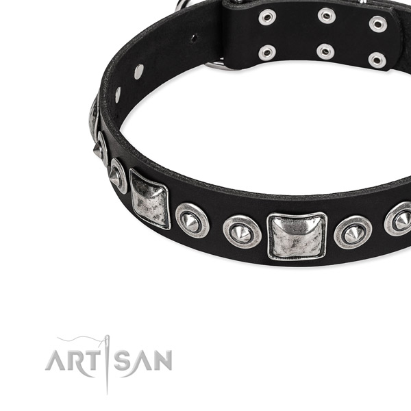Adjustable leather dog collar with resistant to tear and wear durable buckle