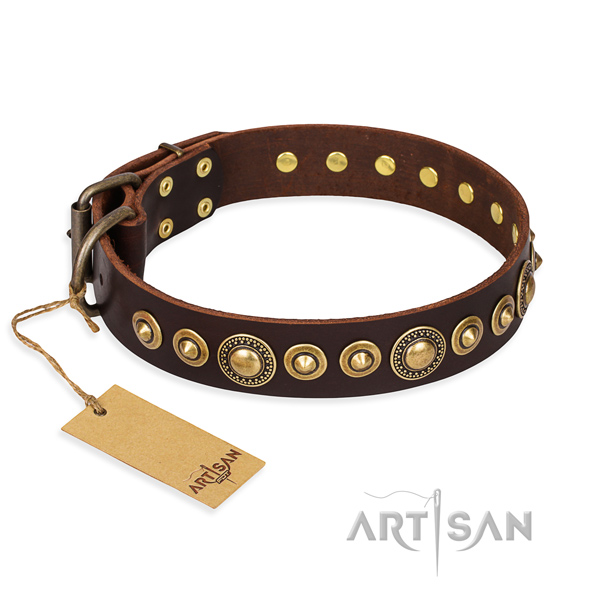 Durable leather dog collar with old bronze-like plated details