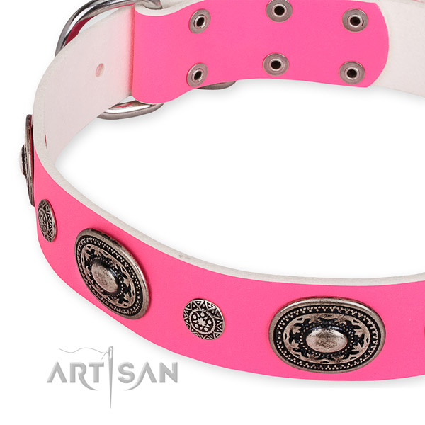 Easy to use leather dog collar with resistant to tear and wear non-rusting set of hardware