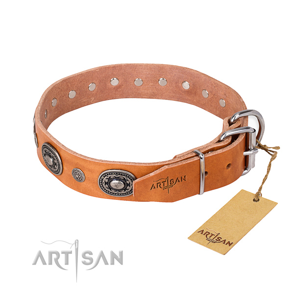 Unusual design decorations on genuine leather dog collar