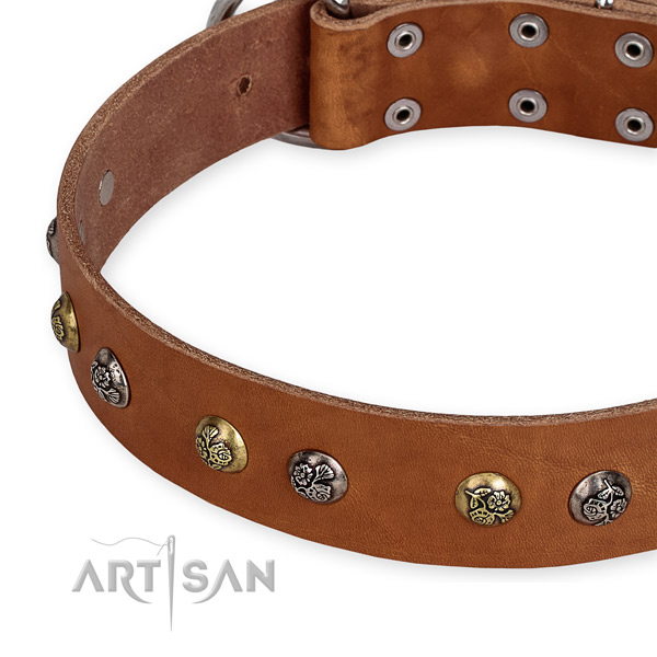 Adjustable leather dog collar with resistant to tear and wear rust-proof hardware