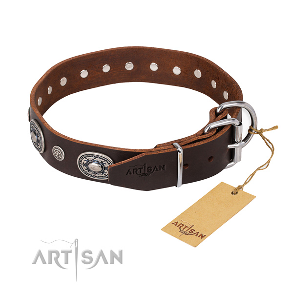 Tear-proof leather collar for your noble dog