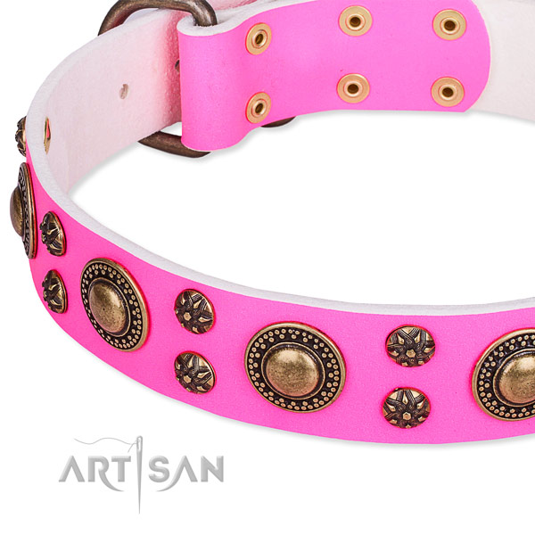 Easy to use leather dog collar with resistant to tear and wear durable buckle and D-ring