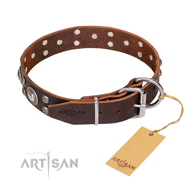 Full grain natural leather dog collar with smoothly polished leather strap