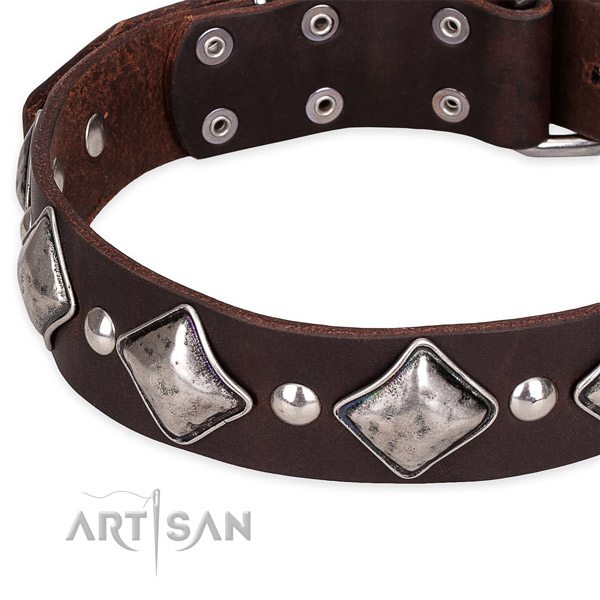 Easy to put on/off leather dog collar with almost unbreakable non-rusting buckle and D-ring